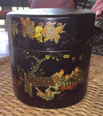 Antique Japanese Tobacco Humidor Color Inlay Black Lacquer Battle,Gaming,Scenes