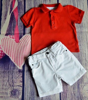 HUGO BOSS Baby Boys Designer Clothes Bundle Red Polo White Sorts 6-9 Months