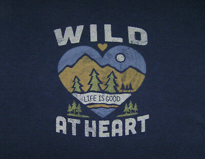 Life is Good *Wild At Heart* size M Womens L/S Darkest Blue Crusher Tee - NWT!