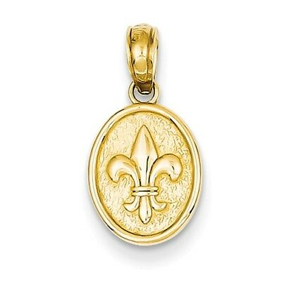 14k Yellow Gold Small Fleur De Lis in Oval Claddagh Pendant- (0.5IN long)