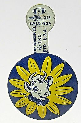 BORDEN'S ELSIE THE COW milk dairy tin litho tab badge button BLUE version *