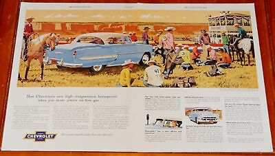 Sweet 1953 Chevy Bel Air Coupe At Rodeo With Cowboys Large Ad - Vintage 50S