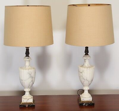 Pair of Italian Alabaster and Black Marble Lamps