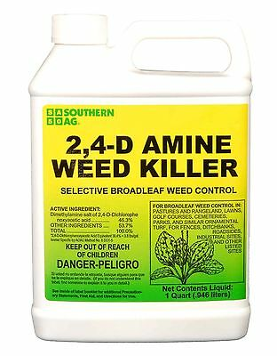 Southern Ag 2,4-D Amine Weed Killer Selective Broadleaf Weed Control, 32oz -1 QT