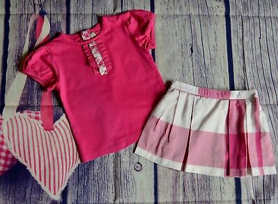 Burberry Baby Girls Designer Clothes Bundle Pink T-shirt & Checked Skirt 1 Year
