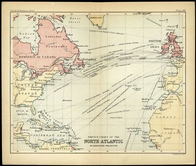 NORTH ATLANTIC Sketch Chart Atlas Small Map c 1890 John Bartholomew