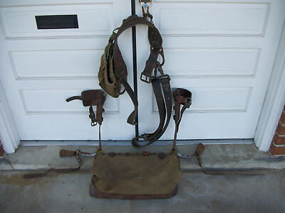 Vintage Bell System Linemans Pole Climbing Hooks And Safety Belt With Carry Bag
