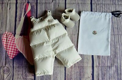Moncler Baby Boy Or Designer Down Filled Padded Dungarees & Boots 3-6 Months