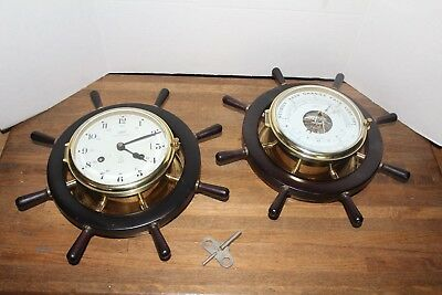 Vintage Schatz Royal Mariner 8 Day Bell Clock and Barometer Set, Germany