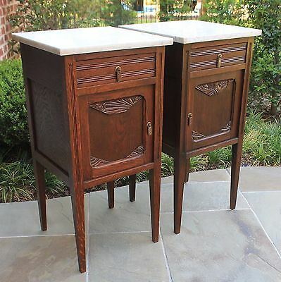 Antique French Oak PAIR Marble Top ART DECO Side Cabinets Nightstands End Tables