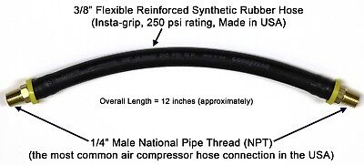 "12-inch Short Air Compressor Hose: 1/4"" Male NPT To 1/4"" Male NPT Connections"