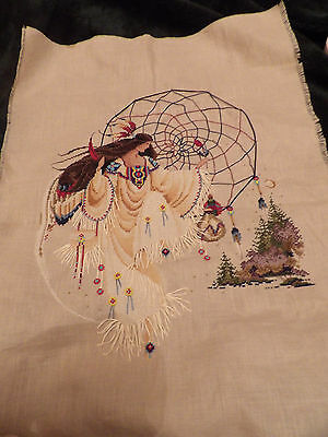 Earthdancer Butternut road completed cross stitch, spiritual, native american
