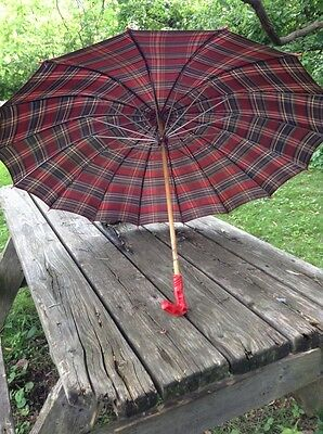Vintage Fancy Red Striped  Parasol Umbrella w/ Red Plastic Handle