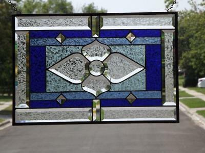 """•SWEET BLUE • Beveled Stained Glass Window Panel • ea. 21 1/2"""" x14 1/2"""""""