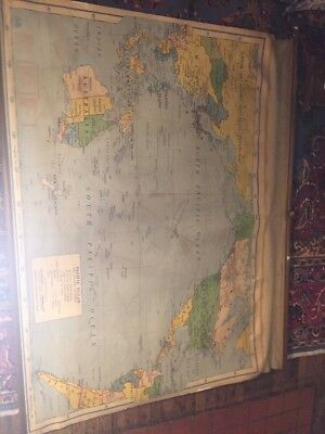 Vintage Nystrom 1942 School World  Pull Down Map Canvas
