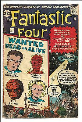 FANTASTIC FOUR # 7 (MASTER OF PLANET X, 1st App. KURRGO, OCT 1962), VG-