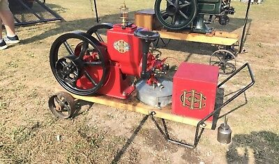 IHC International Famous 1 HP Hit and Miss Engine, Hopper Cooled, With Cart