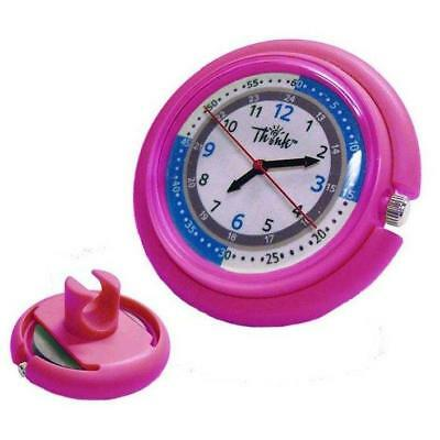 Stethoscope Watch Clip On Pink Medical Pulse Quadrant Dual Second Hand Nurse RN