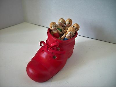 Vintage Old Woman in the Shoe set 5~ bisque jointed arm dolls wih Bisque Shoe