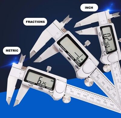 """Fractional 3 Way LCD Display Stainless Steel 6"""" Digital Electronic Caliper"""