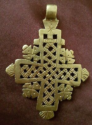 Hand Crafted Brass Ethiopian Orthodox Coptic Christians Cross Pendant,African