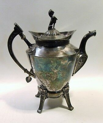 1910 Reed Barton Coffee Teapot - Neoclassic / Egyptian / Repousse (3919)