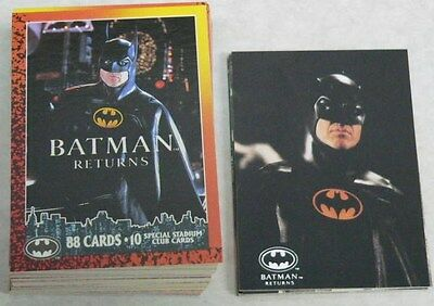Batman Returns Topps 1992 88 cards & 10 stadium club cards