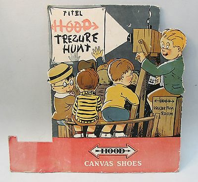 1930's HOOD CANVAS SHOES cardboard display sign. movie projector theater cartoon