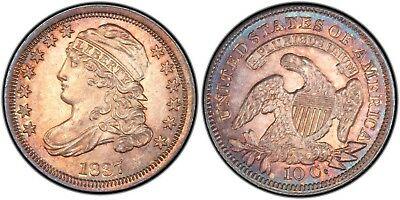 Rainbow Toned 1837 Capped Bust 10c ms62+ pcgs Jr-2 Ex Bareford Dime