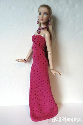 Pink & Black GOWN & JEWELRY for CAMI Antoinette Tonner dolls FASHION NO DOLL d4e