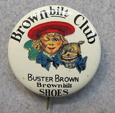 1930's Buster Brown MEMBER BROWNBILT CLUB SHOES pinback button TIN LITHO