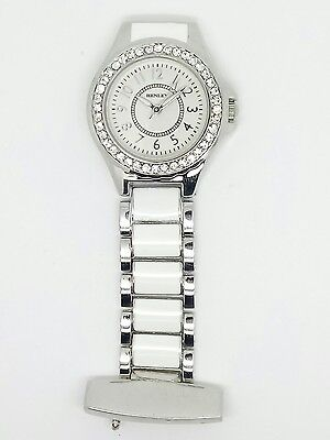 Nurse beautician fob watch by henley diamante bezel silver HF06. 1
