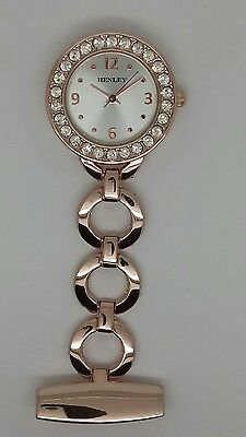 Henley nurse beauticians fob watch rose gold diamanté H2