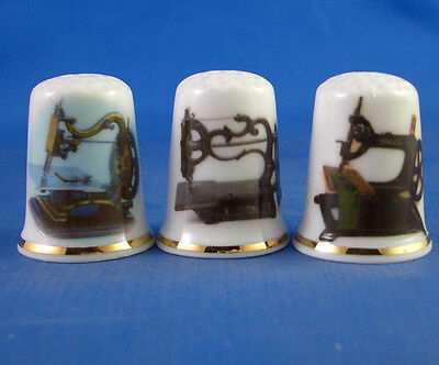 Birchcroft Thimbles -- Set of Three -- Vintage Sewing Machines