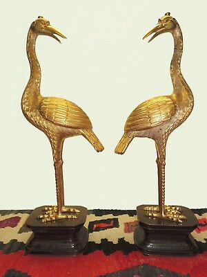 "Pair of  22"" Gilt Bronze Japanese Cranes -19th Century"