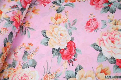 "2m Big Pink Flowers 100% cotton fabric sold by the meter 63"" super width SALE💕"