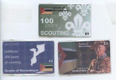 Set of 3 Centenary of Scouting Phonecards Mozambique