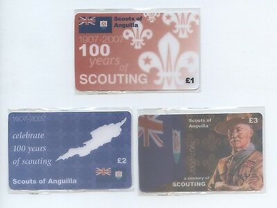 Set of 3 Centenary of Scouting Phonecards Anguilla