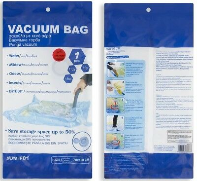 VACUUM STORAGE COMPRESSED SEAL BAG FOR CLOTHES FABRICS SPACE SAVING 70 X 100cm
