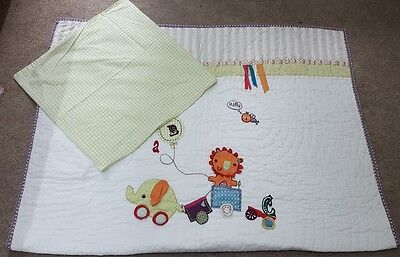 Two Sets of Mamas and Papas Jamboree Coverlet and pillowcase cot bed bedding