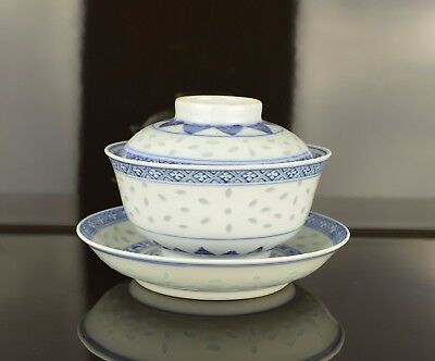 A  Chinese Rice Pattern Bowl / Saucer & Cover