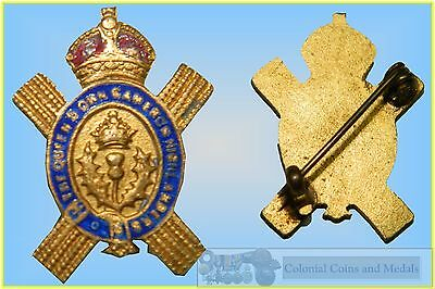 Enamelled Sweetheart Brooch :- Scotland 'The Queen's Own Cameron Highlanders'
