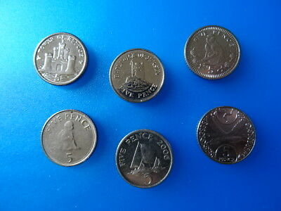 5 p coins of Gibraltar Jersey Guernsey + Isle of Man - 6 RARE coins of Europe