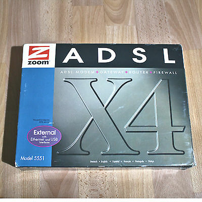 ZOOM 5551a ADSL x4 MODEM ROUTER GATEWAY FIREWALL Ethernet USB BOXED COMPLETE