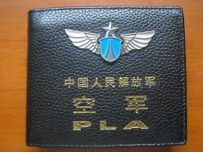 15's series China PLA Air Force Badge Officer Genuine Leather Wallet,AAA