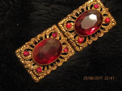 Edwardian Ladies Large Anethyst Coloured Stone And Crystal Bronzed Belt Buckle