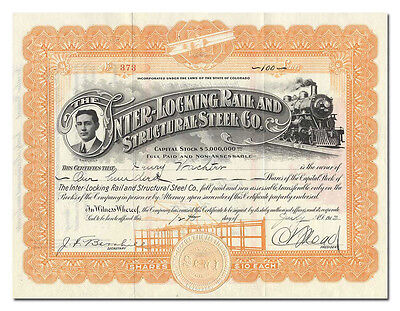 Inter-Locking Rail and Structural Steel Co. Stock Certificate