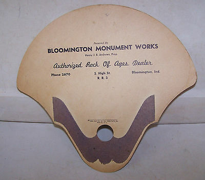 Vintage BLOOMINGTON MONUMENT WORKS Fan INDIANA Authorized Rock of Ages Dealer