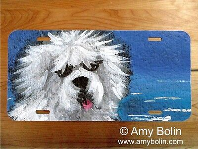 OES Sheepdog aluminum LICENSE PLATE Amy Bolin BEACH BUM PERSONALIZE IT