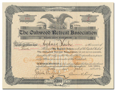 Oakwood Retreat Association Stock Certificate (Lake Geneva, WI Insane Hospital)